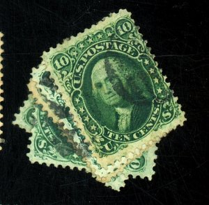 68 (4) 68A USED F-VF FANCY CANCELS Cat $285