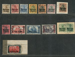 German Offices In Morocco Sc#20-32 Used/VF, Many Signed, Cv. $491