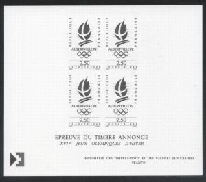 France 1990 Sport Olympics Albertville 92 PROOFS ESSAYS MNH W.004