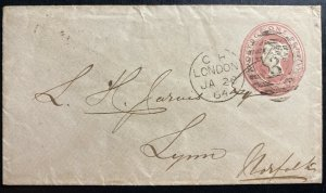 1864 London England Postal Stationery Cover To Lynn