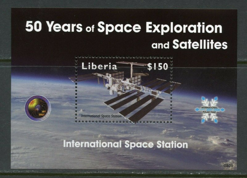 LIBERIA INT'L SPACE STATIONS  50 YEARS OF SPACE EXPLORATION  S/SHEET MINT NH
