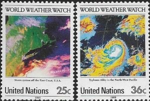 1989 United Nations NY Weather Watch SC# 550-551  Mint
