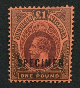 MOMEN: SOUTHERN NIGERIA SG #56s 1912 SPECIMEN MINT OG H LOT #191444-528