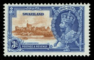 [sto642] SWAZILAND 1935 Silver Jubilee SG23a. 2d Extra flagstaff variety MNH