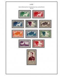 COLOR PRINTED FRENCH SE ASIA 1886-1956 STAMP ALBUM PAGES (32 illustrated pages)