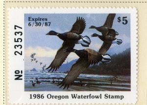 US OR3 OREGON STATE DUCK STAMP 1986 MNH SCV $15.00 BIN $7.50