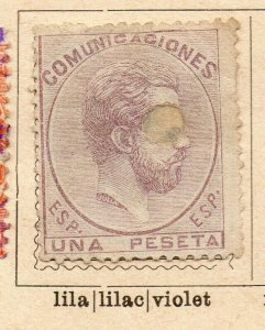 Spain 1872-73 Early Issue Fine Mint Hinged 1p. Hole Punched NW-16578
