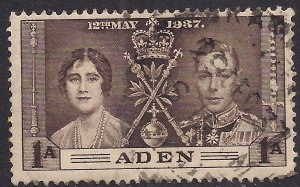 Aden 1937 KGV1 1 Anna Sepia Coronation Used SG 13 ( H884 )
