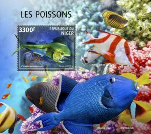 NIGER - 2019 - Fishes - Perf Souv Sheet - MNH