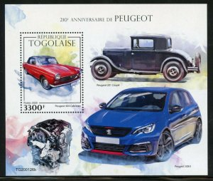 TOGO 2020  210th ANNIVERSARY OF PEUGOT SOUVENIR SHEET MINT NEVER HINGED