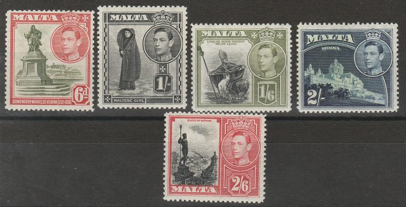 MALTA 1938 KGVI PICTORIAL 6D TO 2/6