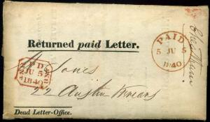 1840 Returned paid Letter Dead Letter Office with Letter