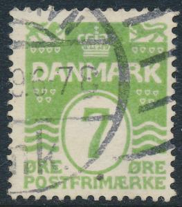 Denmark Scott 91 (AFA 167), 7ø green Wavy Lines, F-VF Used