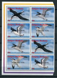 Barbuda Scott 1640 Caribbean Sea Birds 2 Strips of 4 Set Overprint 1998 NH