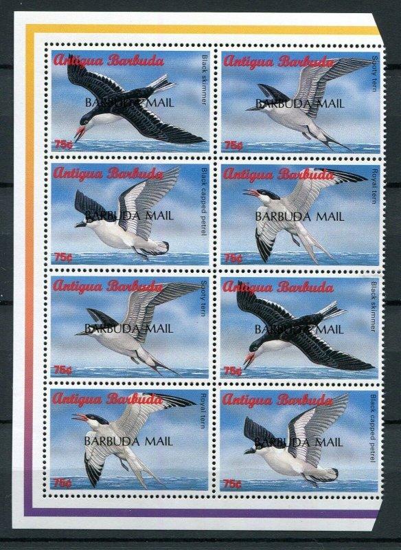 Barbuda Scott 1640 Caribbean Sea Birds 2 Strips of 4 Set Overprint 1998 NH