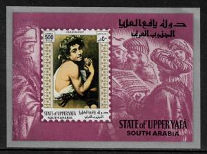 Aden, Upper Yafa Michel #Block13 MNH S/Sheet - Caravaggio Painting