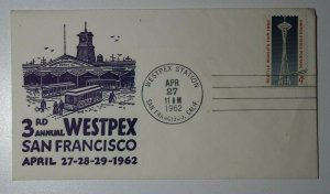 WESTPEX Sta San Francisco CA 1962 Ferry Philatelic Expo Cachet Cover