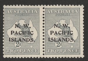 NEW GUINEA - NWPI 1915 Kangaroo 2d 1st wmk, pair substituted type a-c. SCARCE!