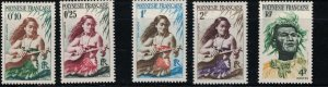 French Polynesia 182-190 Girl w/Guitar-Man /w Headress-RegionalDress-MNH 1958