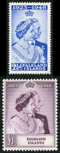 Falkland Is SG166/7 1948 Silver Wedding Set M/M