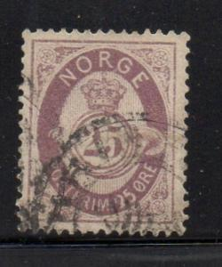Norway Sc 28 1877 25 ore lilac post horn stamp used