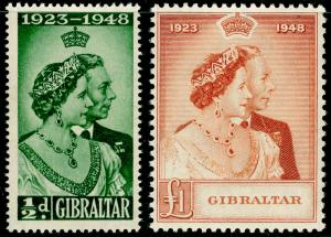 GIBRALTAR SG134-135, COMPLETE SET, NH MINT. Cat £62. RSW.