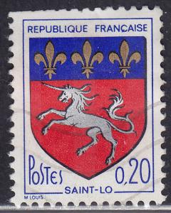 France 1143 Hinged 1966 Arms of Saint Lo 0.20c Tagged