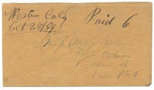 Doyle's_Stamps: Rare California Postal History Cover Western, Cal Manuscript
