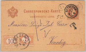 AUSTRIA Österreich -   Ganzsachen: POSTAL STATIONERY CARD to ITALY - TAXED