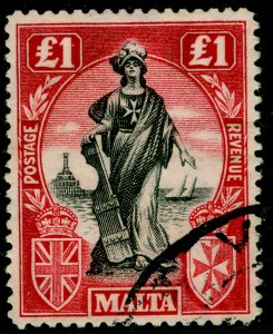 MALTA SG139, £1 Black & Carmine Red SIDEWAYS WMK, FINE USED. Cat £350.
