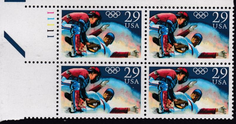 United States 1992 29cent Olympic Baseball Plate Number Block VF/NH(**)