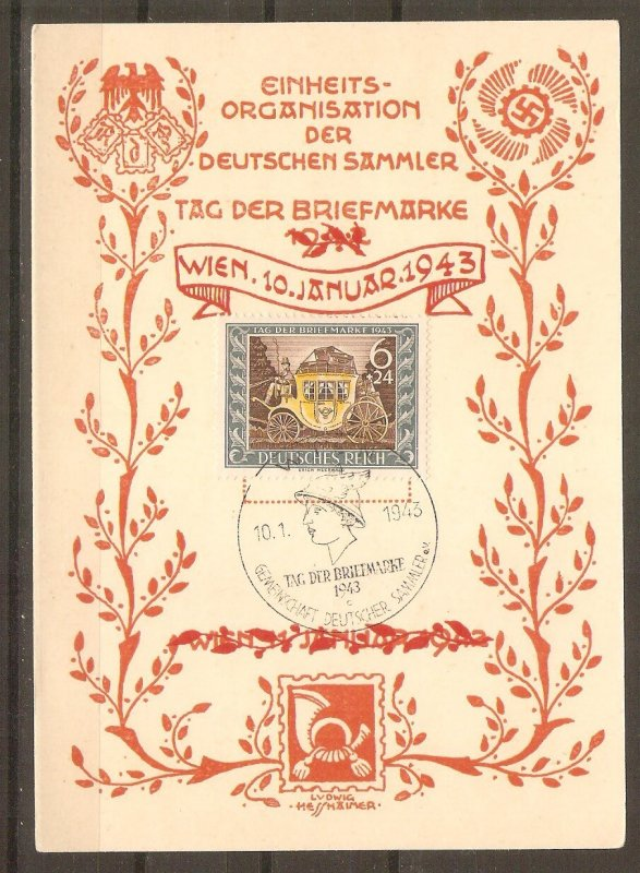 GERMANY 1943 Memory Card for Stamp Day by L. Hesshaimer