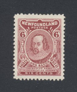 Newfoundland Mint Stamp; #92-6c Type 2 Lord Bacon Reg. Z Guide Value = $80.00