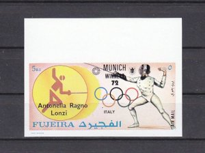 Fujeira, Mi cat. 1443 B only. Italy-Olympic Fencing IMPERF Value. ^