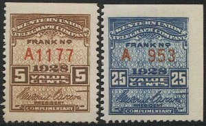 US 1928 Sc 16T73-74 MNH Western Union Telegraph Co., Serial #A1171,A953, VF