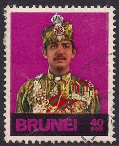 Brunei 1974 – 76 QE2 40 sen Sultan Bolkiah used ( F681 )