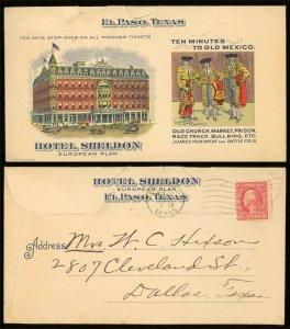 1916 HOTEL SHELDON EL PASO TEXAS TX COLOR ADVERTISING COVER