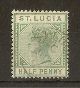 St Lucia 1883 QV 0.5d 'Break in Frame'