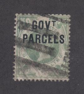 Great Britain SG O68c used 1890 1sh GOV'T PARCELS ovpt on QV, Dot Left of T