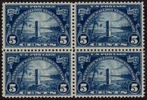 USA SC #616 MNH B4 1924 5c Huguenot-Walloon CV $110.00