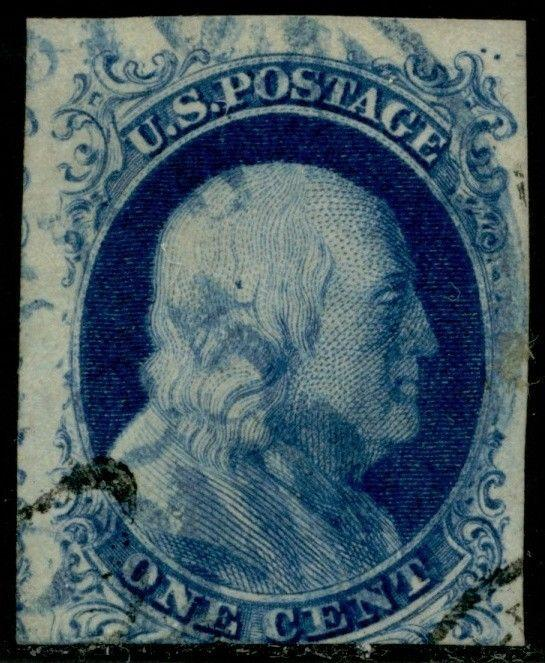 #9 POS.7R1L DOUBLE TRANSFER W/ BLUE TOWN CANCEL & PAID; APS CERT BQ1885