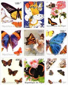 Niger 1999 Butterflies Sheet Perforated mnh.vf