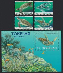 Tokelau Sea Turtles 4v+MS SG#234-238 SC#217-221