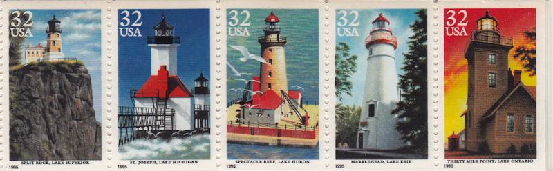 United States #2973a Lighthouse Booklet strip 5 MNH, Please see the description.