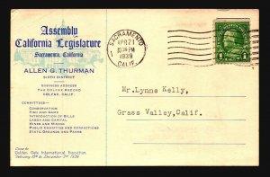 US 1939 Allen Thurman CA Political Card / Signed - L4754
