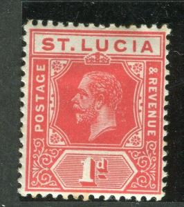 ST.LUCIA; 1912 early GV issue fine Mint hinged Shade of 1d. value