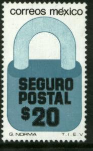MEXICO G33 $20P Padlock Insured Letter Wmk Fosfo Paper 2 MNH