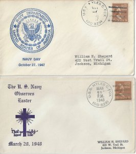 USS Myles C. Fox  DD 829   1947 Navy Day, 1948 Easter   US Naval Covers