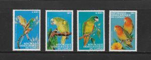 BIRDS - ZAIRE #1528-31 PARROTS  MNH