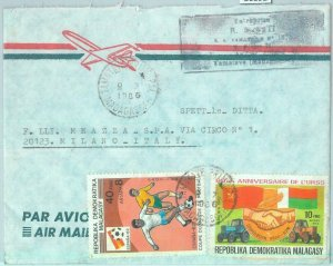 86892 - MADAGASCAR - Postal History -  COVER to ITALY 1986 Football COMMUNISM